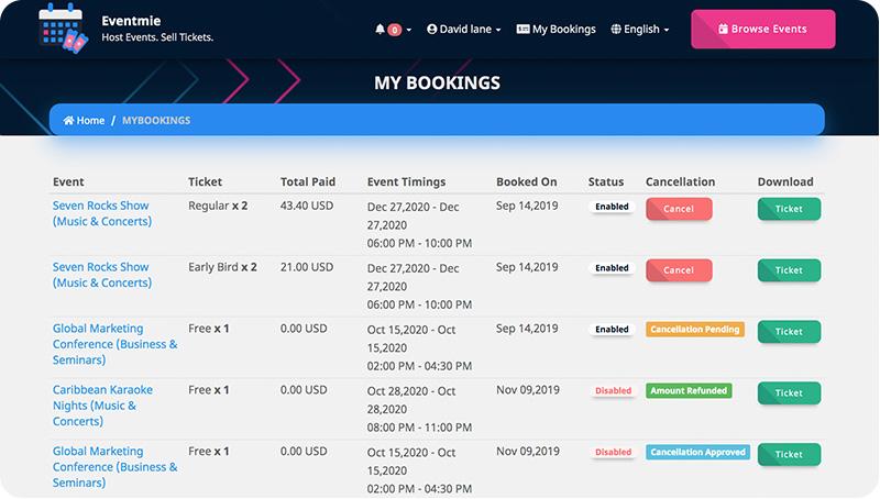 Customer - event ticket download