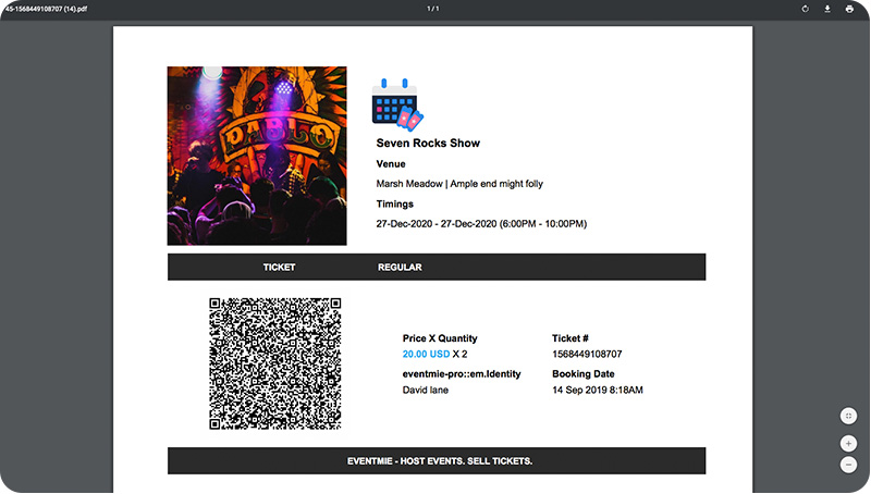 Event Ticket PDF with QrCode