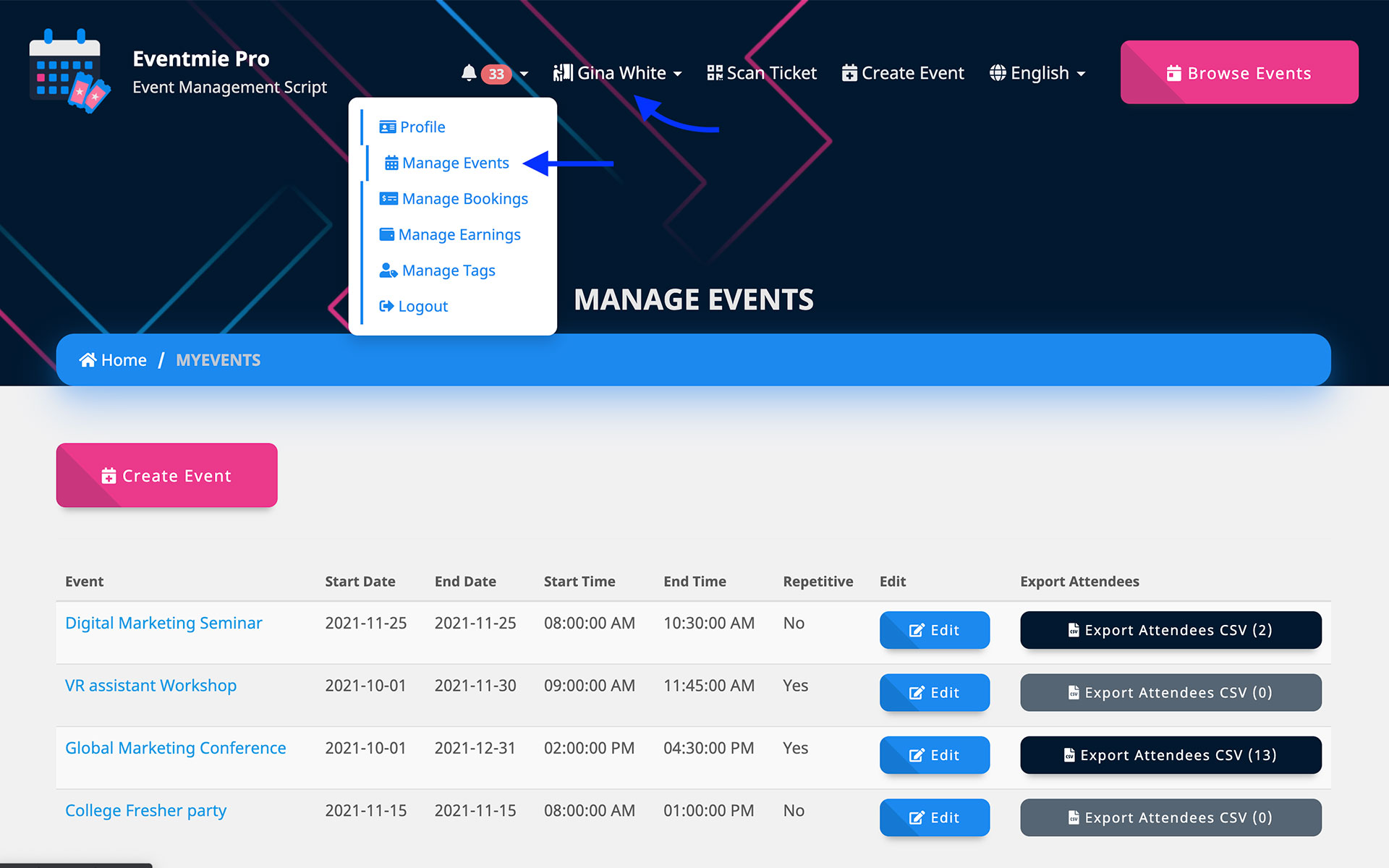 Organizer manage events