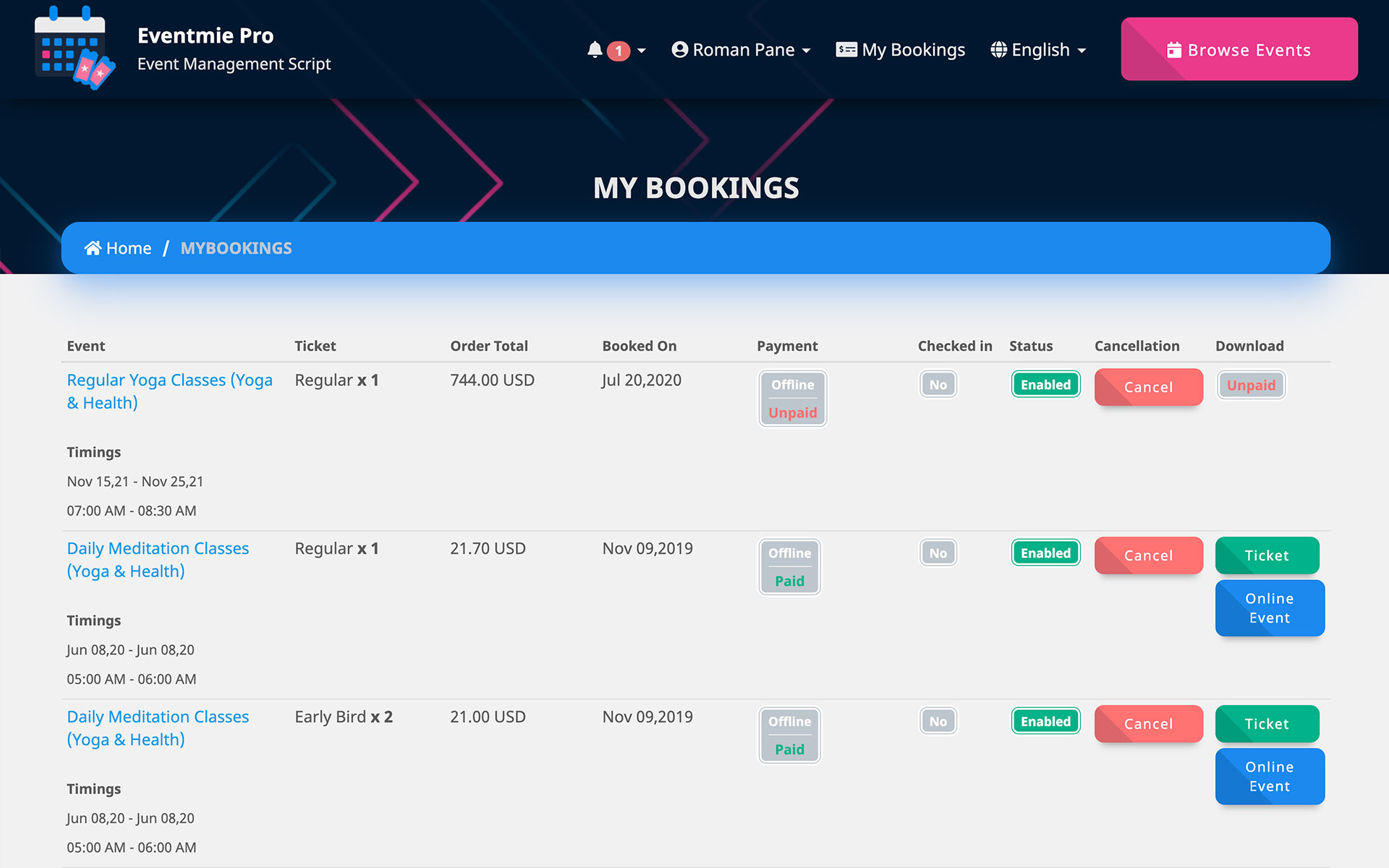 Customer bookings page